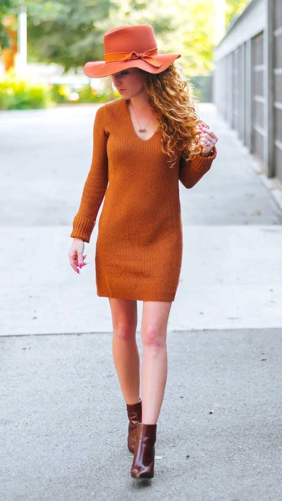 Fitted Long Sleeve Tunic Sweater Dress Rust Leather Something New