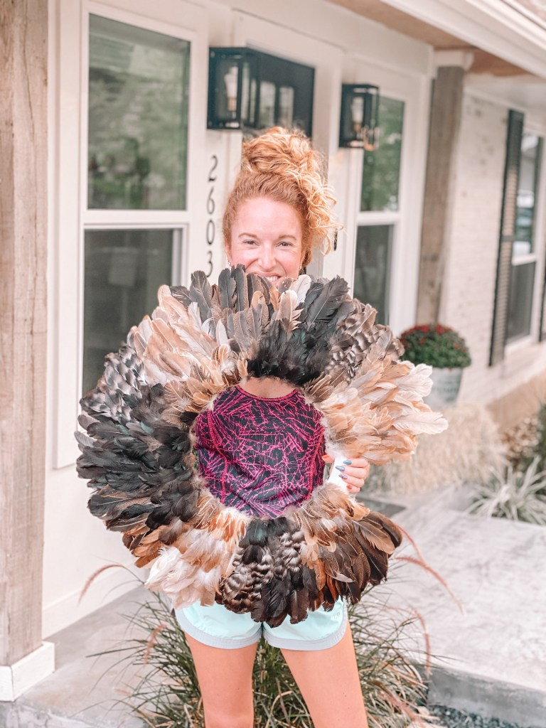 Chicken Feather Wreath How-To