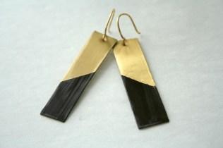 Dark Chocolate Gold Metal Dangle Earrings 2
