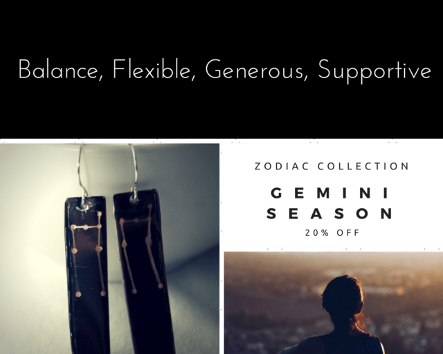 Gemini Zodiac Silver Earrings