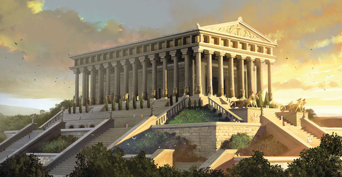 A drawing of what the Temple of Artemis might have looked like.
