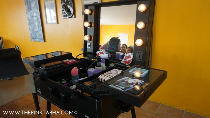 The fabulous life of a makeup artist, complete with spotlights, haha!