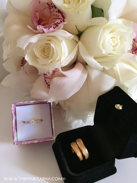 Don't forget your wedding bands and flower bouquet!