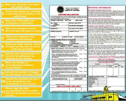 philippine customs declaration form