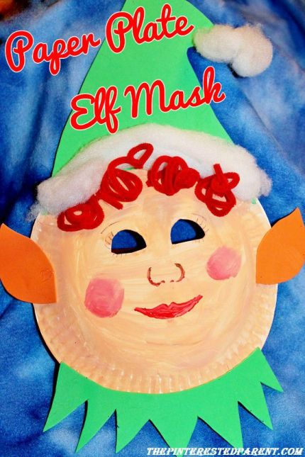 Paper Plate Christmas ELf Mask for kids