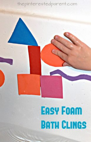 easy to make foam tub clings for kids - did you know that foam clings when it is wet? Great for a creative and fun activity for toddlers and preschoolers during bath time.