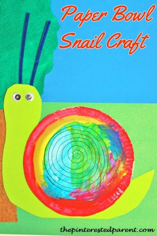 Paper bowl & plate snail craft for kids - great spring craft