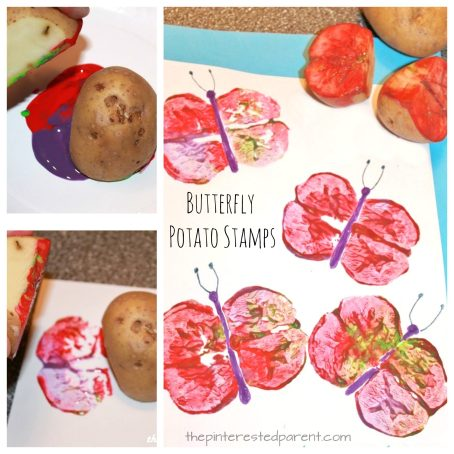 Butterfly Potato Stamp Prints - painting arts & crafts for kids and preschoolers for the spring and summer