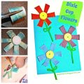 Dixie Cup painted Flowers crafts for kids - arts and craft activities for the summer or spring. Great for toddlers and preschoolers too.