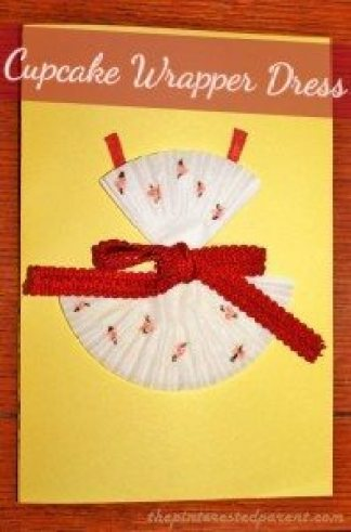 Cupcake Wrapper Dress Craft - Cute for a DIY card