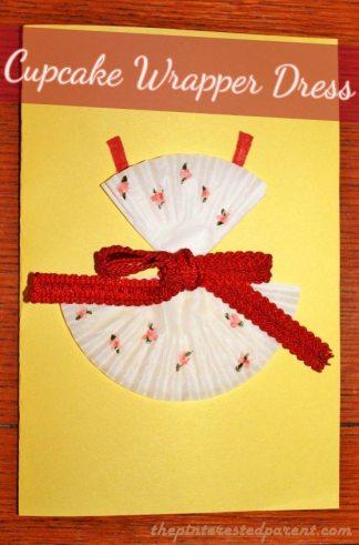 Cupcake Wrapper Dress Craft - Cute for a DIY card