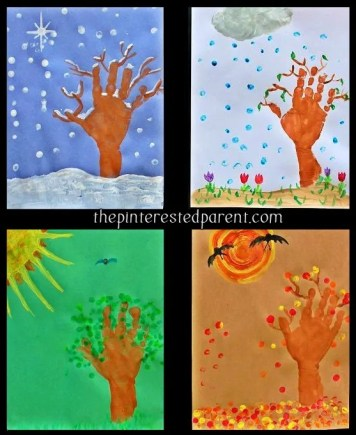 hand & finger print 4 seasons craft, winter, spring, summer & fall trees & leaves. Kid's arts & crafts
