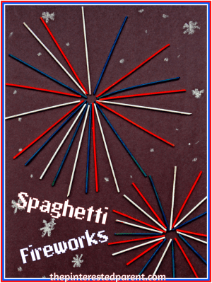 Painted Spaghetti Fireworks - An easy patriotic craft for the Fourth of July - holiday arts & crafts