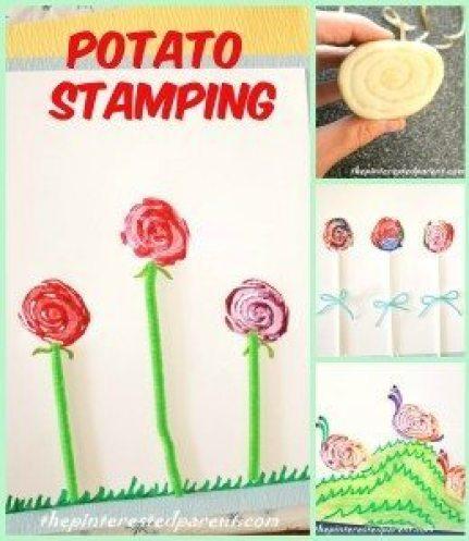 Potato Stamps - one potato - 3 different designs. Make a snaiil, a rose or a lollipop