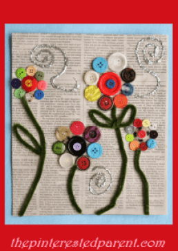 Button Flower Craft made on old newspaper. Pretty and easy kid's craft
