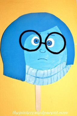 Inside Out Character Paper Plate Mask - Sadness