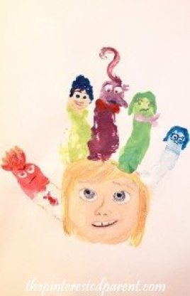 Inside Out Hand Print Characters Craft - Riley with her head full of emotions