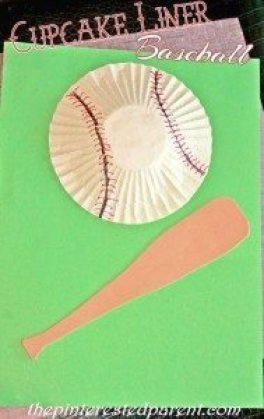 3D Cupcake Liner Baseball Craft