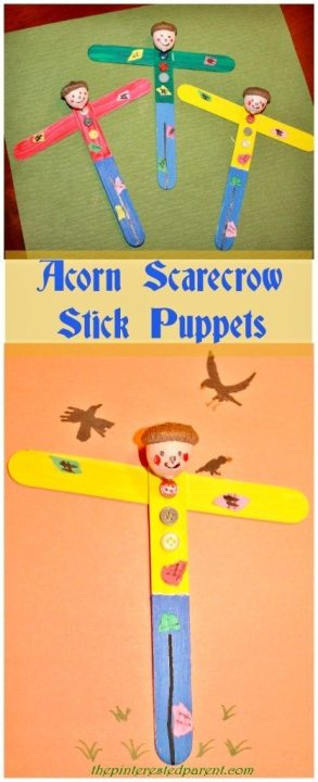 Acorn Scarecrow Stick Puppet Craft - Fall fun for the kids