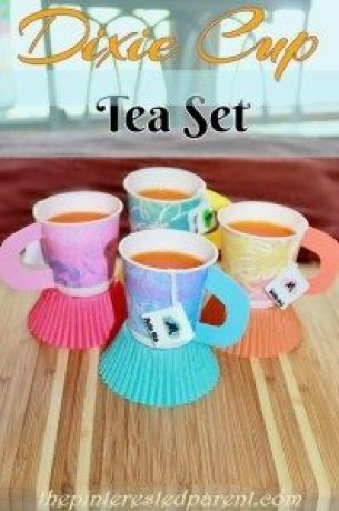 Dixie Cup Tea Set - We filled our cups with Jell-o, but these would be great for a tea party themed party. You could fill them with a snack or  drink of your choosing.