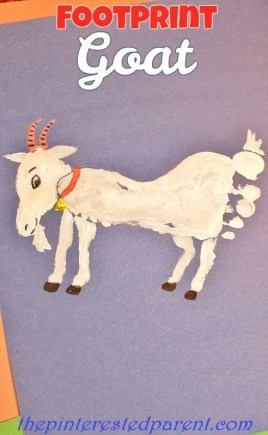 Footprint Goat Craft - Footprint crafts A-Z G is for goat