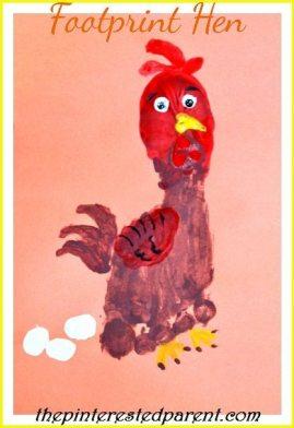 Footprint Hen Footprint Crafts from A-Z - H is for hen