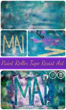 Paint Roller Tape Resist Art - The paint on paint tape resist creates a beautiful marbled look for your letters.