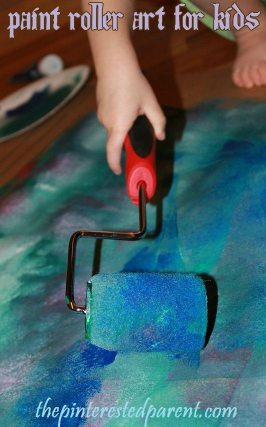 Use a small painter's roller to make a beautiful piece of abstract art. My daughter loved using the roller to paint. We made a lovely tape resist piece using this technique.