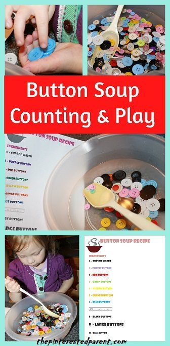 Button Soup Counting, Colors, Measuring & Play For Toddlers with a free printable