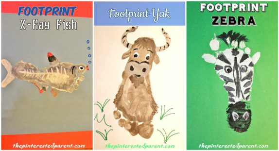 Footprint Animals Crafts From A -Z featuring X, Y & Z