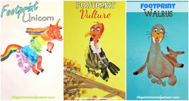 Footprint Crafts from A - Z featuring U, V & W