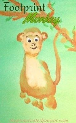 Footprint Monkey Craft - Footprint Crafts A - Z M is for Monkey