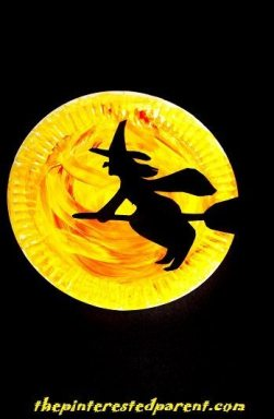 Paper Plate Witch Silhouette - Halloween Kid's Crafts
