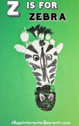 Z is for Zebra footprint crafts