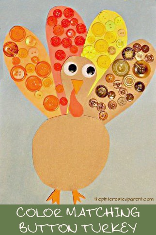 Color Matching Button turkey craft and activity for Thanksgiving. Kid's arts and crafts for preschoolers and toddlers