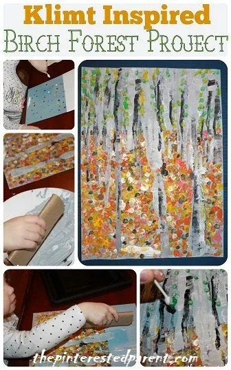 Gustav Klimt Birch Forest Inspired Craft Project