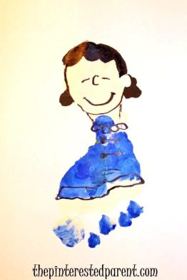 The Peanuts Lucy Van Pelt inspired Footprint craft