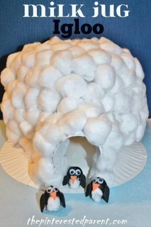 Igloo made out of a milk jug & cotton balls. The penguins are made out of acorns. Winter kids craft