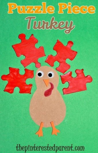 Puzzle piece Thanksgiving turkey craft for kids