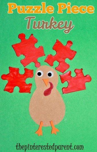 Puzzle piece Thanksgiving turkey craft for kids