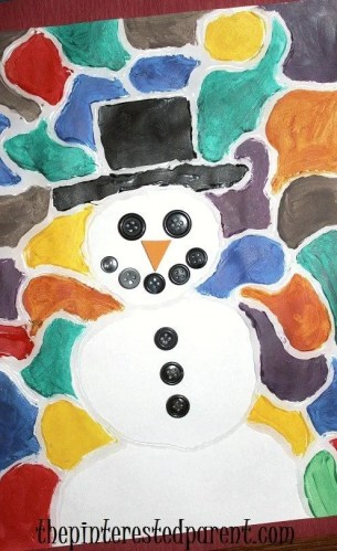 Stained Glass Snowman Painting - Winter & Christmas crafts for kids