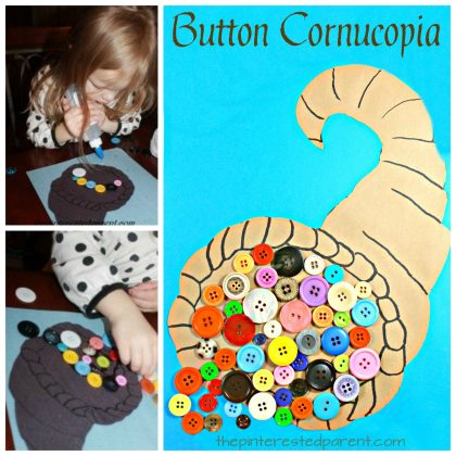 button cornucopia arts and craft project for kids. Thanksgiving and fall craft ideas for preschoolers and toddlers