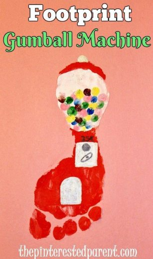 Footprint Gumball Machine Craft - kids foot art