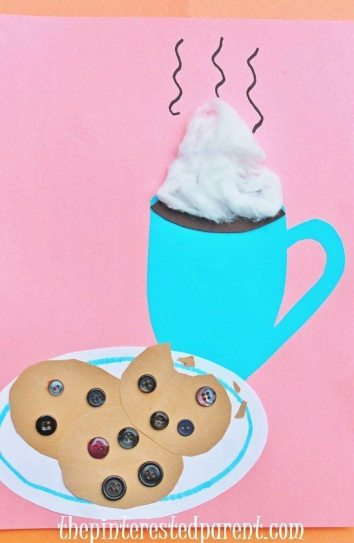 Hot cocoa & cookies craft - winter crafts for kids