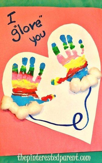 I glove you - hand print craft A cute idea for kid's winter craft keepsake