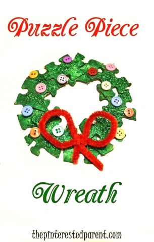 Puzzle Piece Wreath Craft for kids. Christmas and winter arts and crafts for toddlers and preschoolers - with buttons