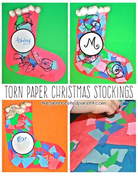 torn paper christmas stockings with glitter- kids crafts for Christmas and winter - preschoolers construction paper mosaics