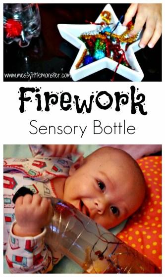Firework Sensory Bottles by Messy Little Monster