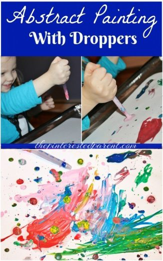 Abstract Painting & Art using medicine or eye dropper. Fun & messy art for the kids
