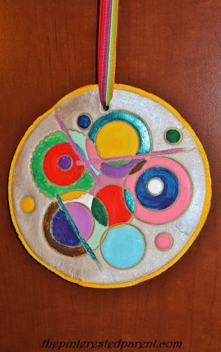Kandinsky inspired painted clay art for kids